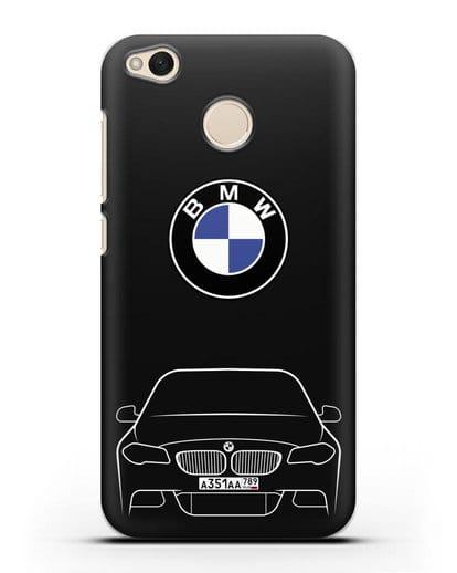 Чехол BMW 5 с автомобильным номером силикон черный для Xiaomi Redmi 4X