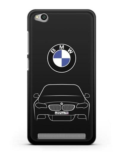 Чехол BMW 5 с автомобильным номером силикон черный для Xiaomi Redmi 5A