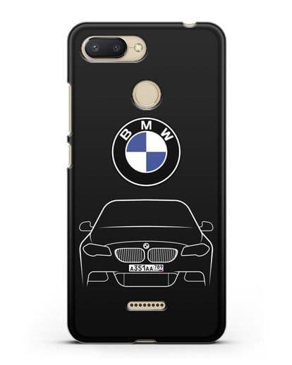 Чехол BMW 5 с автомобильным номером силикон черный для Xiaomi Redmi 6
