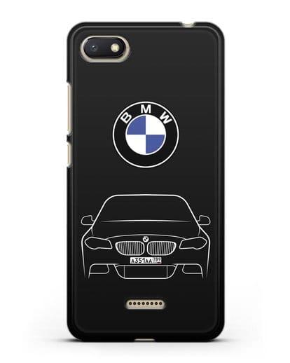 Чехол BMW 5 с автомобильным номером силикон черный для Xiaomi Redmi 6A