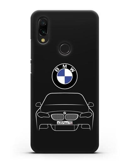 Чехол BMW 5 с автомобильным номером силикон черный для Xiaomi Redmi 7