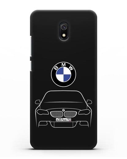 Чехол BMW 5 с автомобильным номером силикон черный для Xiaomi Redmi 8A