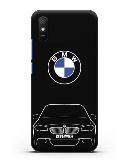 Чехол BMW 5 с автомобильным номером силикон черный для Xiaomi Redmi 9A