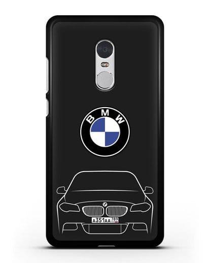 Чехол BMW 5 с автомобильным номером силикон черный для Xiaomi Redmi Note 4X