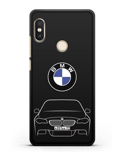 Чехол BMW 5 с автомобильным номером силикон черный для Xiaomi Redmi Note 5