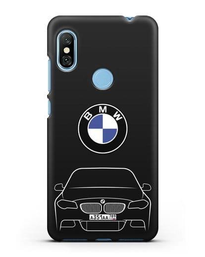 Чехол BMW 5 с автомобильным номером силикон черный для Xiaomi Redmi Note 6 Pro