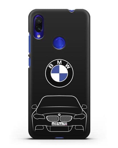 Чехол BMW 5 с автомобильным номером силикон черный для Xiaomi Redmi Note 7