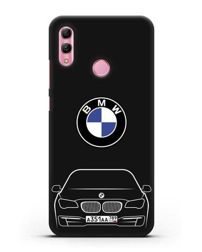 Чехол BMW 7 с автомобильным номером силикон черный для Honor 10 Lite