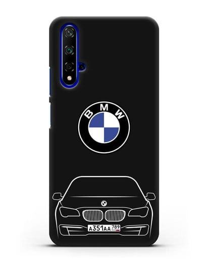 Чехол BMW 7 с автомобильным номером силикон черный для Honor 20