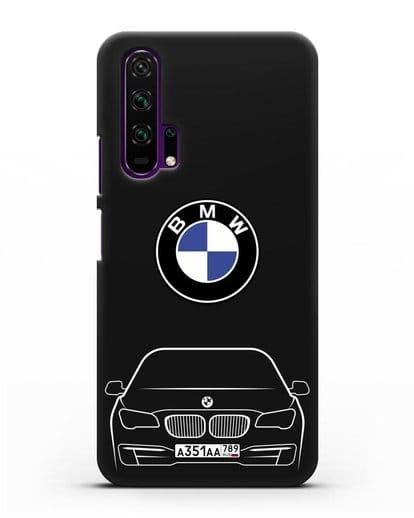 Чехол BMW 7 с автомобильным номером силикон черный для Honor 20 Pro