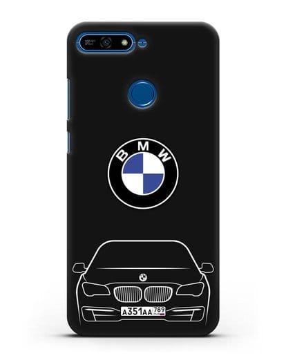 Чехол BMW 7 с автомобильным номером силикон черный для Honor 7А Pro