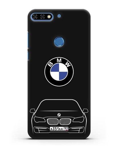 Чехол BMW 7 с автомобильным номером силикон черный для Honor 7C Pro