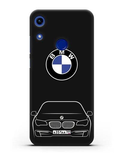 Чехол BMW 7 с автомобильным номером силикон черный для Honor 8A