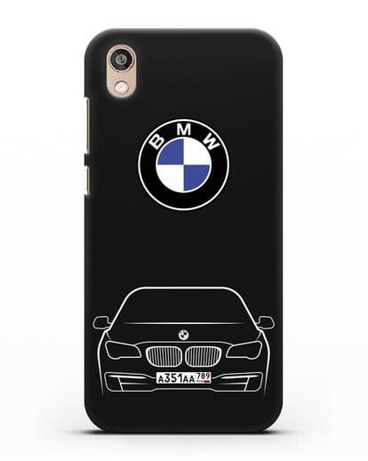 Чехол BMW 7 с автомобильным номером силикон черный для Honor 8S Prime