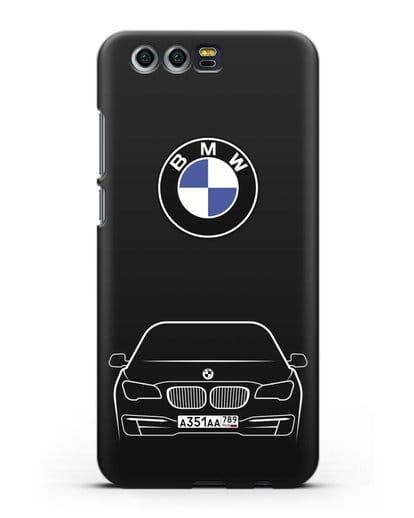 Чехол BMW 7 с автомобильным номером силикон черный для Honor 9