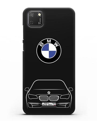 Чехол BMW 7 с автомобильным номером силикон черный для Honor 9S