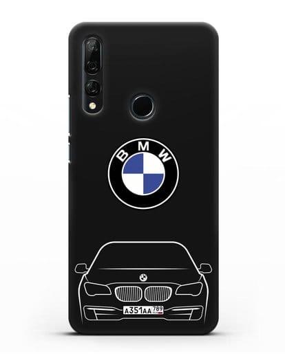 Чехол BMW 7 с автомобильным номером силикон черный для Honor 9X