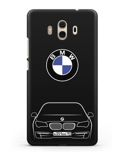 Чехол BMW 7 с автомобильным номером силикон черный для Huawei Mate 10