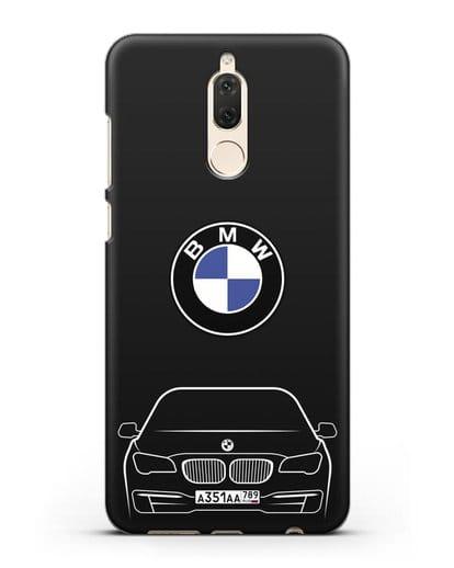Чехол BMW 7 с автомобильным номером силикон черный для Huawei Mate 10 Lite