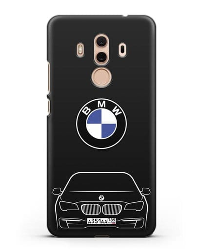 Чехол BMW 7 с автомобильным номером силикон черный для Huawei Mate 10 Pro