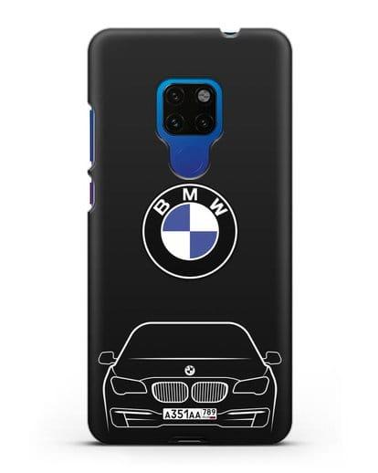 Чехол BMW 7 с автомобильным номером силикон черный для Huawei Mate 20