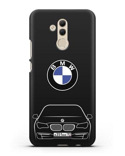 Чехол BMW 7 с автомобильным номером силикон черный для Huawei Mate 20 Lite
