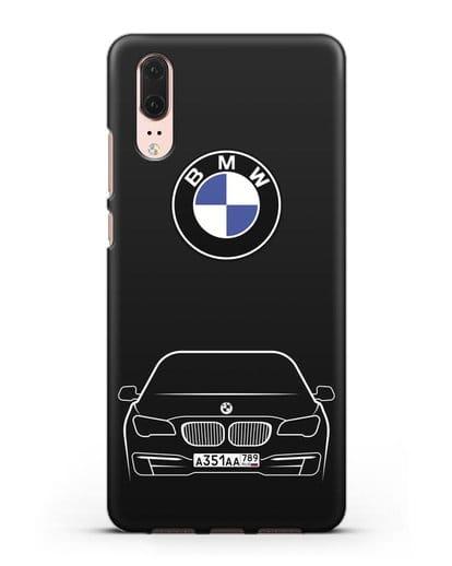 Чехол BMW 7 с автомобильным номером силикон черный для Huawei P20