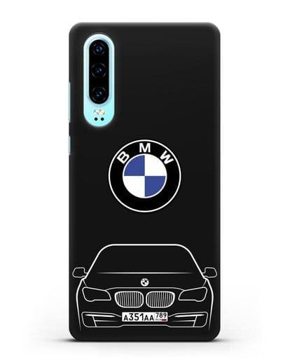 Чехол BMW 7 с автомобильным номером силикон черный для Huawei P30