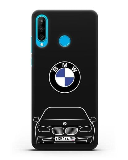 Чехол BMW 7 с автомобильным номером силикон черный для Huawei P30 Lite