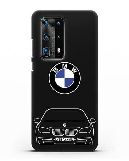 Чехол BMW 7 с автомобильным номером силикон черный для Huawei P40 Pro