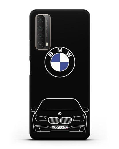 Чехол BMW 7 с автомобильным номером силикон черный для Huawei P Smart 2021