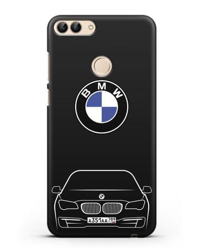 Чехол BMW 7 с автомобильным номером силикон черный для Huawei P Smart