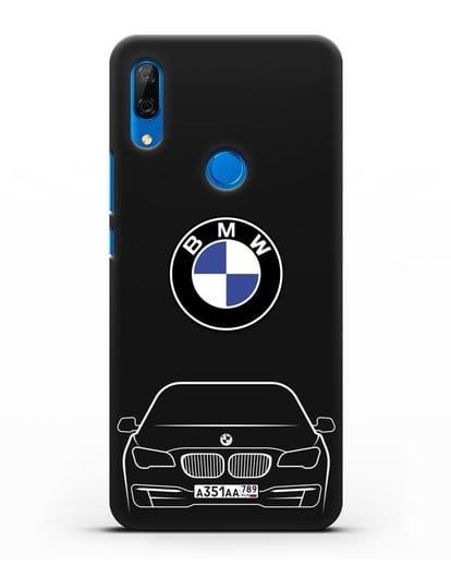 Чехол BMW 7 с автомобильным номером силикон черный для Huawei P Smart Z