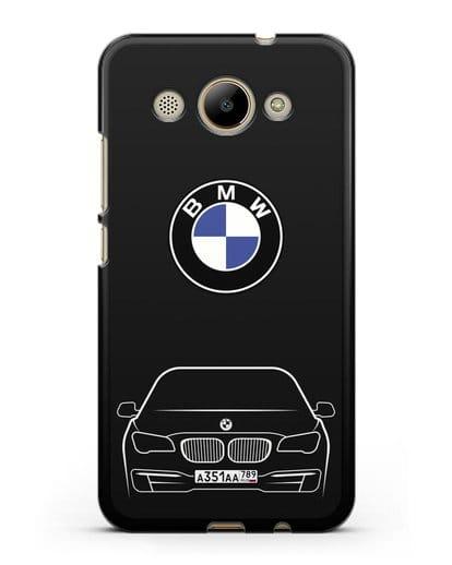 Чехол BMW 7 с автомобильным номером силикон черный для Huawei Y3 2017