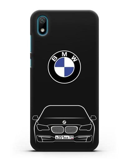 Чехол BMW 7 с автомобильным номером силикон черный для Huawei Y5 2019