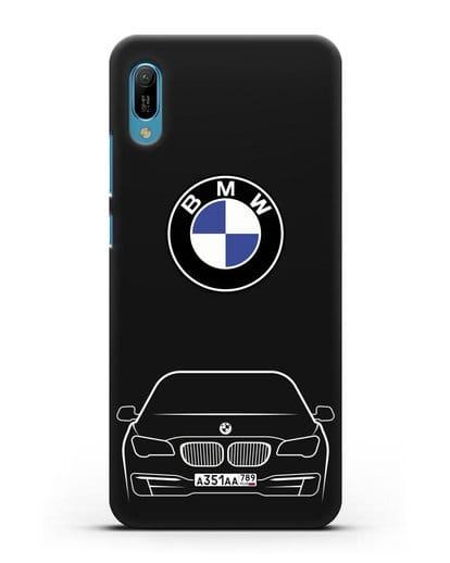 Чехол BMW 7 с автомобильным номером силикон черный для Huawei Y6 2019