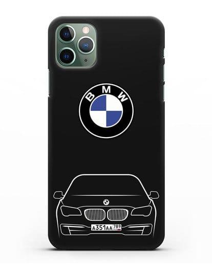Чехол BMW 7 с автомобильным номером силикон черный для iPhone 11 Pro Max