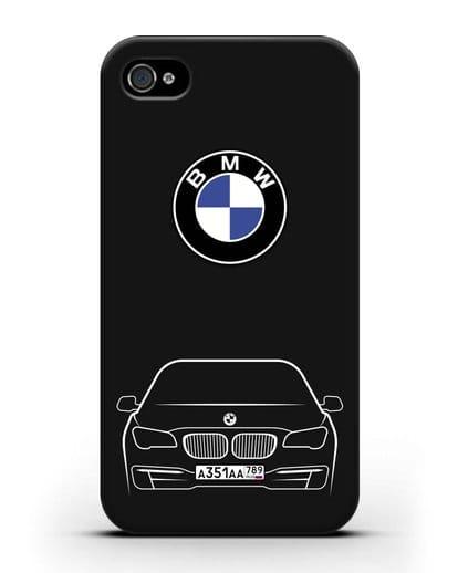 Чехол BMW 7 с автомобильным номером силикон черный для iPhone 4/4s