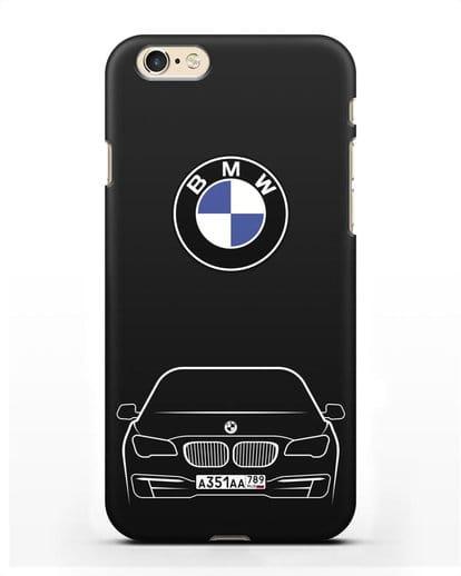 Чехол BMW 7 с автомобильным номером силикон черный для iPhone 6