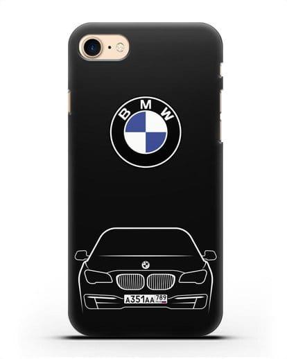 Чехол BMW 7 с автомобильным номером силикон черный для iPhone 8