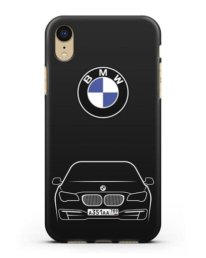 Чехол BMW 7 с автомобильным номером силикон черный для iPhone XR