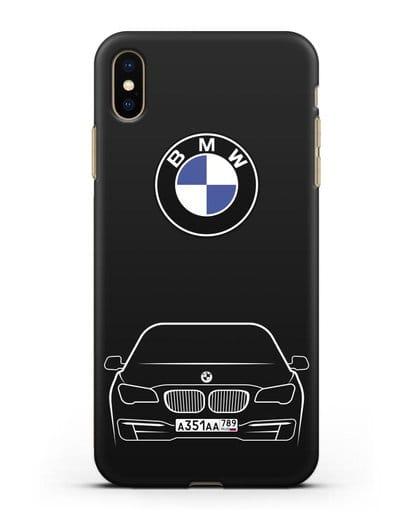 Чехол BMW 7 с автомобильным номером силикон черный для iPhone XS Max