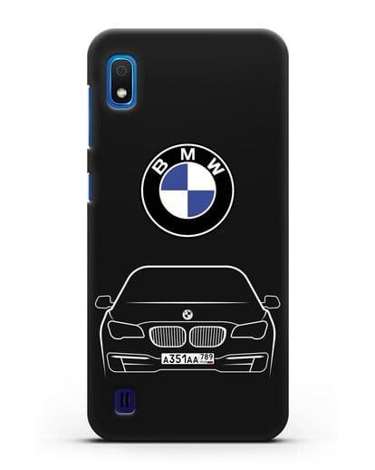 Чехол BMW 7 с автомобильным номером силикон черный для Samsung Galaxy A10 [SM-A105F]