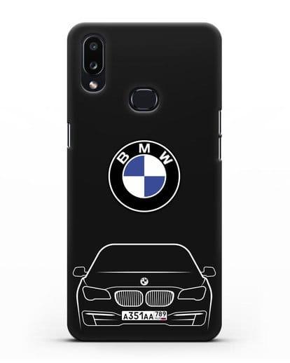 Чехол BMW 7 с автомобильным номером силикон черный для Samsung Galaxy A10s [SM-F107F]
