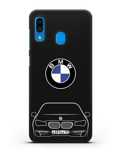Чехол BMW 7 с автомобильным номером силикон черный для Samsung Galaxy A30 [SM-A305FN]