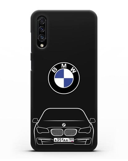 Чехол BMW 7 с автомобильным номером силикон черный для Samsung Galaxy A30s [SM-A307FN]