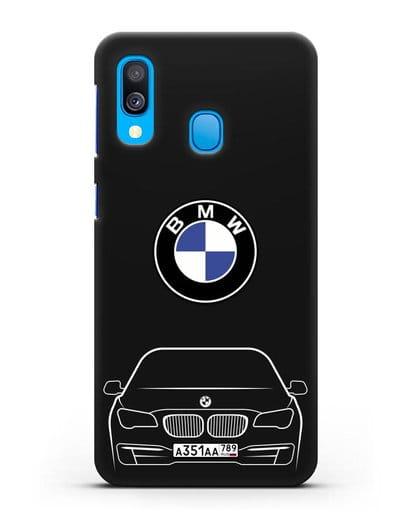 Чехол BMW 7 с автомобильным номером силикон черный для Samsung Galaxy A40 [SM-A405F]