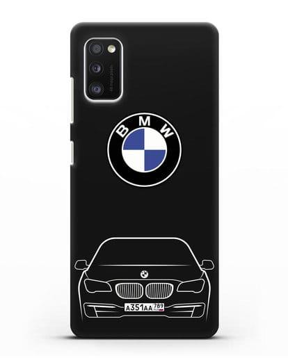 Чехол BMW 7 с автомобильным номером силикон черный для Samsung Galaxy A41 [SM-A415F]