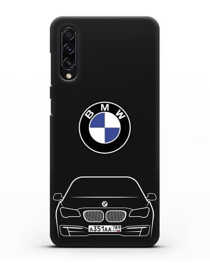 Чехол BMW 7 с автомобильным номером силикон черный для Samsung Galaxy A50s [SM-F507FN]