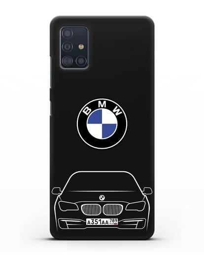 Чехол BMW 7 с автомобильным номером силикон черный для Samsung Galaxy A51 [SM-A515F]